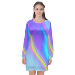 Aurora Color Rainbow Space Blue Sky Purple Yellow Long Sleeve Chiffon Shift Dress  by Mariart