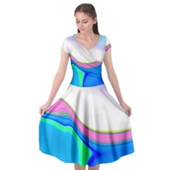 Aurora Color Rainbow Space Blue Sky Purple Yellow Green Cap Sleeve Wrap Front Dress by Mariart