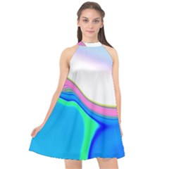 Aurora Color Rainbow Space Blue Sky Purple Yellow Green Halter Neckline Chiffon Dress  by Mariart