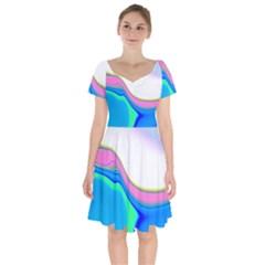 Aurora Color Rainbow Space Blue Sky Purple Yellow Green Short Sleeve Bardot Dress by Mariart