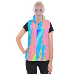 Aurora Color Rainbow Space Blue Sky Purple Yellow Green Pink Women s Button Up Puffer Vest by Mariart