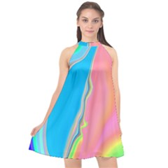 Aurora Color Rainbow Space Blue Sky Purple Yellow Green Pink Halter Neckline Chiffon Dress  by Mariart