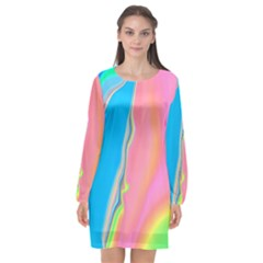 Aurora Color Rainbow Space Blue Sky Purple Yellow Green Pink Long Sleeve Chiffon Shift Dress  by Mariart