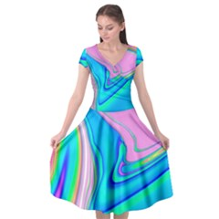 Aurora Color Rainbow Space Blue Sky Purple Yellow Green Pink Red Cap Sleeve Wrap Front Dress by Mariart