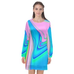 Aurora Color Rainbow Space Blue Sky Purple Yellow Green Pink Red Long Sleeve Chiffon Shift Dress