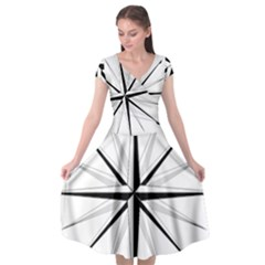 Compase Star Rose Black White Cap Sleeve Wrap Front Dress