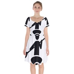 Cropped Kayak Graphic Race Paddle Black Water Sea Wave Beach Short Sleeve Bardot Dress by Mariart
