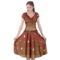 Fawn Gender Flags Polka Space Brown Cap Sleeve Wrap Front Dress