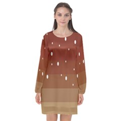 Fawn Gender Flags Polka Space Brown Long Sleeve Chiffon Shift Dress  by Mariart