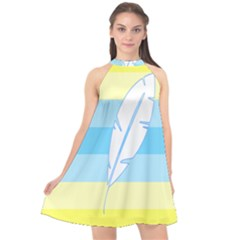 Feather Flags Halter Neckline Chiffon Dress