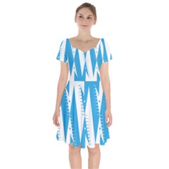 Make Tessellation Bird Tessellation Blue White Short Sleeve Bardot Dress by Mariart