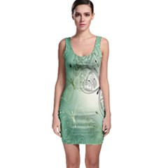 Glass Splashback Abstract Pattern Butterfly Sleeveless Bodycon Dress