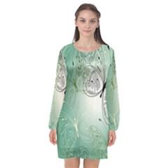 Glass Splashback Abstract Pattern Butterfly Long Sleeve Chiffon Shift Dress