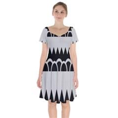 Noir Gender Flags Wave Waves Chevron Circle Black Grey Short Sleeve Bardot Dress