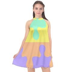 Puzzle Gender Halter Neckline Chiffon Dress