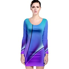 Line Blue Light Space Purple Long Sleeve Bodycon Dress by Mariart