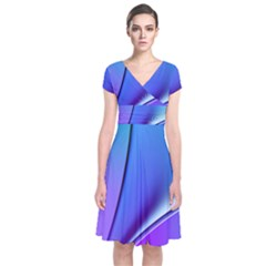 Line Blue Light Space Purple Short Sleeve Front Wrap Dress by Mariart