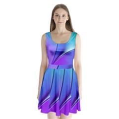 Line Blue Light Space Purple Split Back Mini Dress  by Mariart