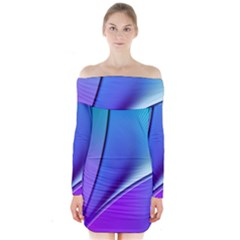 Line Blue Light Space Purple Long Sleeve Off Shoulder Dress by Mariart