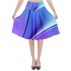 Line Blue Light Space Purple Flared Midi Skirt by Mariart