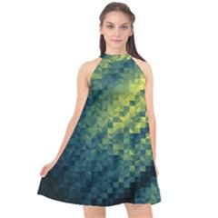 Polygon Dark Triangle Green Blacj Yellow Halter Neckline Chiffon Dress  by Mariart