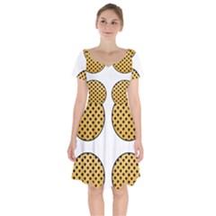 Star Circle Orange Round Polka Short Sleeve Bardot Dress