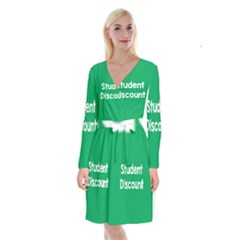 Student Discound Sale Green Long Sleeve Velvet Front Wrap Dress by Mariart