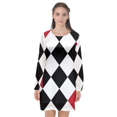 Survace Floor Plaid Bleck Red White Long Sleeve Chiffon Shift Dress  by Mariart