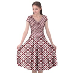 Pattern Kawung Star Line Plaid Flower Floral Red Cap Sleeve Wrap Front Dress by Mariart