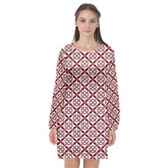 Pattern Kawung Star Line Plaid Flower Floral Red Long Sleeve Chiffon Shift Dress  by Mariart