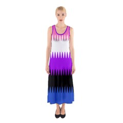 Sychnogender Techno Genderfluid Flags Wave Waves Chevron Sleeveless Maxi Dress