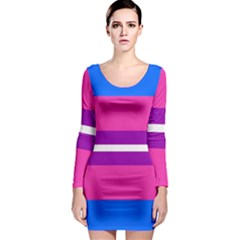 Transgender Flags Long Sleeve Bodycon Dress