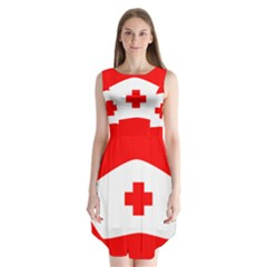 Tabla Laboral Sign Red White Sleeveless Chiffon Dress   by Mariart