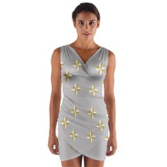 Syrface Flower Floral Gold White Space Star Wrap Front Bodycon Dress by Mariart