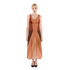 Volcano Lava Gender Magma Flags Line Brown Sleeveless Maxi Dress by Mariart
