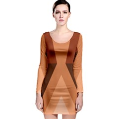 Volcano Lava Gender Magma Flags Line Brown Long Sleeve Bodycon Dress by Mariart