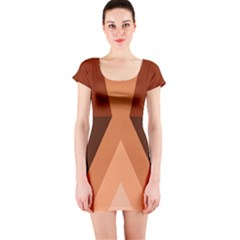 Volcano Lava Gender Magma Flags Line Brown Short Sleeve Bodycon Dress by Mariart
