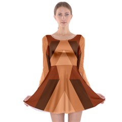 Volcano Lava Gender Magma Flags Line Brown Long Sleeve Skater Dress by Mariart