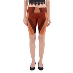 Volcano Lava Gender Magma Flags Line Brown Yoga Cropped Leggings by Mariart