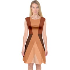 Volcano Lava Gender Magma Flags Line Brown Capsleeve Midi Dress by Mariart