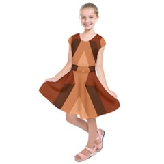 Volcano Lava Gender Magma Flags Line Brown Kids  Short Sleeve Dress by Mariart