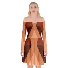 Volcano Lava Gender Magma Flags Line Brown Off Shoulder Skater Dress by Mariart