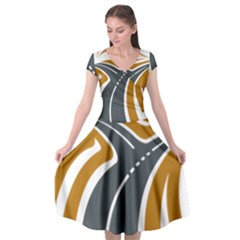 Transparent All Road Tours Bus Charter Street Cap Sleeve Wrap Front Dress