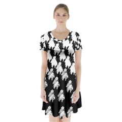 Transforming Escher Tessellations Full Page Dragon Black Animals Short Sleeve V Neck Flare Dress by Mariart