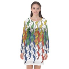 Rainbow Fish Long Sleeve Chiffon Shift Dress  by Mariart