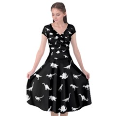 Dinosaurs Pattern Cap Sleeve Wrap Front Dress by Valentinaart