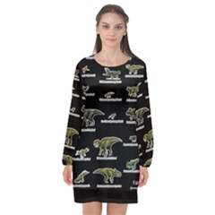 Dinosaurs Names Long Sleeve Chiffon Shift Dress  by Valentinaart