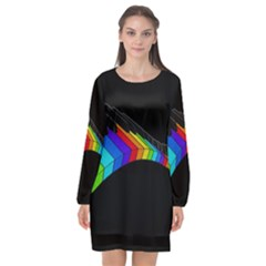 Rainbow Piano  Long Sleeve Chiffon Shift Dress  by Valentinaart