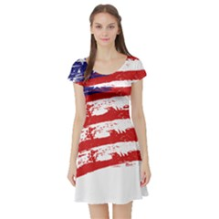 American Flag Short Sleeve Skater Dress by Valentinaart
