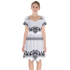 Transparent Lace Decoration Short Sleeve Bardot Dress by Nexatart
